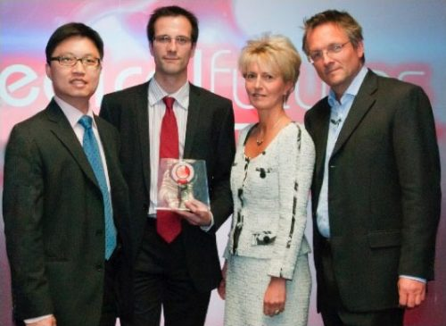 Professor Ng and Dr Nicolson accepting the Medical Futures 2011 award from Dr Sarah Clarke (then President of the British Cardiovascular Society) and Dr Michael Mosley (journalist, producer and presenter).